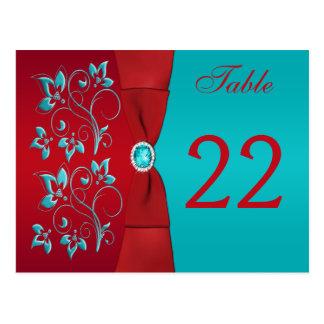 Doppelseitiges Rot, Türkis-BlumenTischnummer-Karte Postkarte