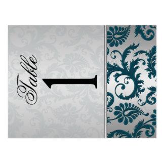 Doppelseitiges Silber und aquamarine Tischnummer Postkarte