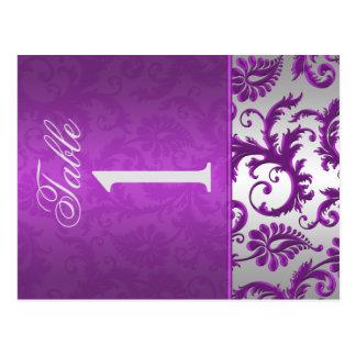 Doppelseitiges Silber und lila Tischnummer des Postkarten