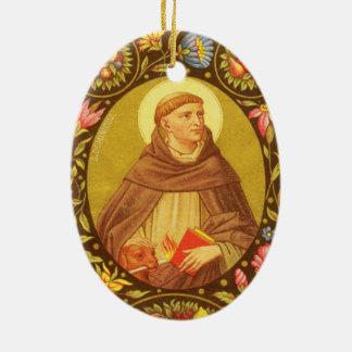 Doppelseitiges St Dominic de Guzman (P.M. 02) Ovales Keramik Ornament