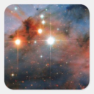 Doppelsterne WR 25 u. Tr16-244 - Hubble Raum-Foto Quadratischer Aufkleber