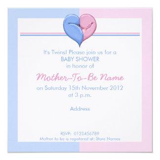 Doppeltauben-Herz-Babyparty-Einladung Quadratische 13,3 Cm Einladungskarte