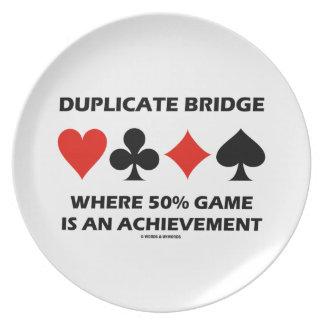 Doppelte Brücke, wo 50% Spiel eine Leistung ist Teller