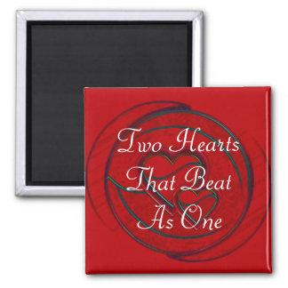 Doppelte Herzen zwei Herzen die als eins schlugen Magnets