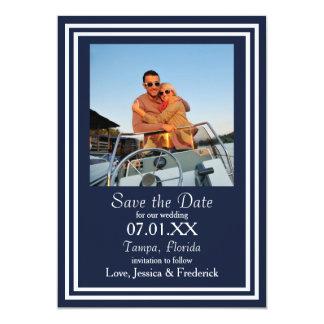 Doppelte Marine nautisch - Save the Date 12,7 X 17,8 Cm Einladungskarte
