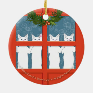Doppelte mit vier versah das nennende Katzen… mit Rundes Keramik Ornament