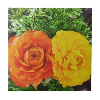 Doppelte Problem-Blume Kleine Quadratische Fliese