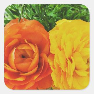 Doppelte Problem-Blume Quadratischer Aufkleber