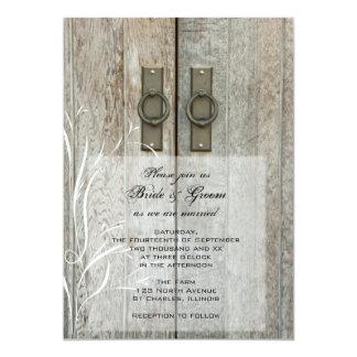 Doppelte Scheunen-Tür-Land-Hochzeits-Einladung 12,7 X 17,8 Cm Einladungskarte