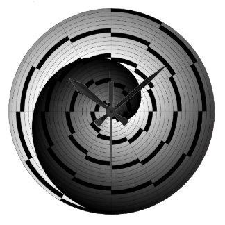Doppelte Yin Yang Spirale durch Kenneth Yoncich Große Wanduhr