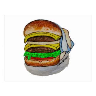 Doppelter Cheeseburger Postkarte