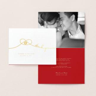 Doppelter Glück-Knoten-asiatische Hochzeit danken Folienkarte