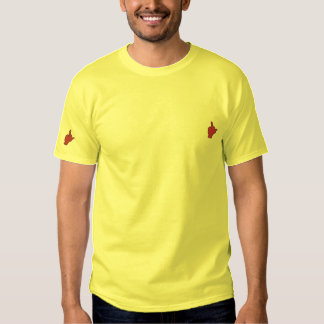 Doppelter Midfinger gestickter T - Shirt