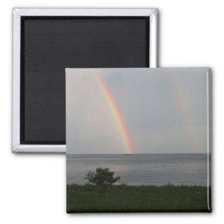 Doppelter Regenbogen über Ozean Quadratischer Magnet