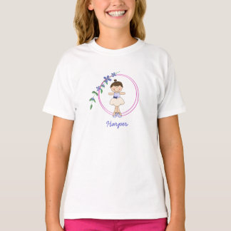 Doppelter Ring-violette Ballerina scherzt T - T-Shirt