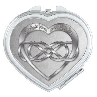 Doppelter Unendlichkeits-Silber Herz-Herz Schminkspiegel