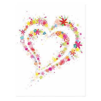 Doppeltes Blumen-Herz Postkarte
