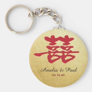Doppeltes Glück chinesisches Wedding Keychain Standard Runder Schlüsselanhänger