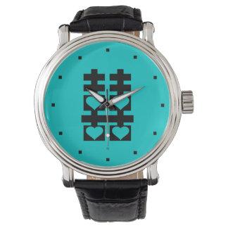 Doppeltes Glück-Liebe-Herz-aquamarine Uhr