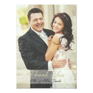 Doppeltes versah Elfenbein-Foto-Hochzeit danken 12,7 X 17,8 Cm Einladungskarte