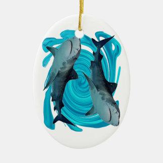 DOPPELtiger-HAIFISCHE Keramik Ornament