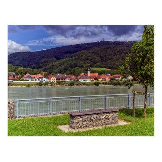 Dorf von Willendorf auf dem Fluss Donau, Postkarte