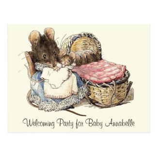 Dormouse-Mutter und KinderParty Einladung Postkarte