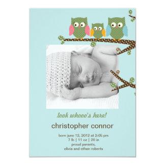Dotty Eulen-Baby-Geburts-Mitteilung 12,7 X 17,8 Cm Einladungskarte