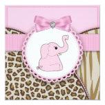 Douche élégante de bébé d'éléphant rose cartons d'invitation personnalisés