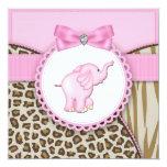 Douche élégante de bébé d'éléphant rose cartons d'invitation
