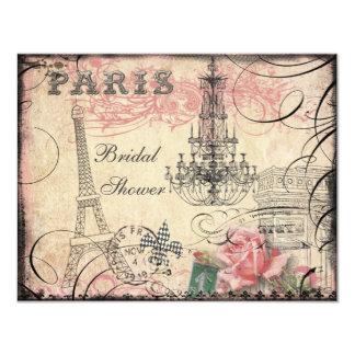 Douche nuptiale chic de Tour Eiffel et de lustre Carton D'invitation 10,79 Cm X 13,97 Cm
