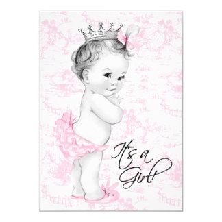 Douche rose de bébé de Toile Invitations