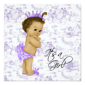 Douche vintage pourpre de bébé de Toile de lavande Carton D'invitation 13,33 Cm