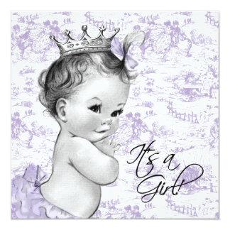 Douche vintage pourpre de bébé de Toile de lavande Invitations Personnalisées