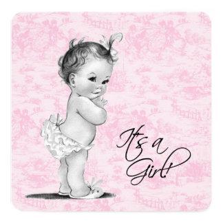 Douche vintage rose de bébé de Toile Carton D'invitation 13,33 Cm