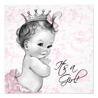 Douche vintage rose de bébé de Toile Faire-parts