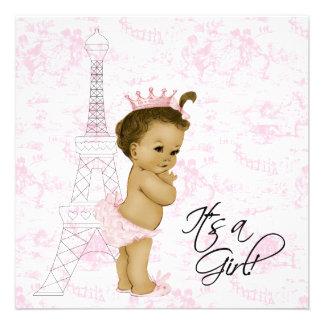Douche vintage rose de bébé de Toile Paris Invitations Personnalisées