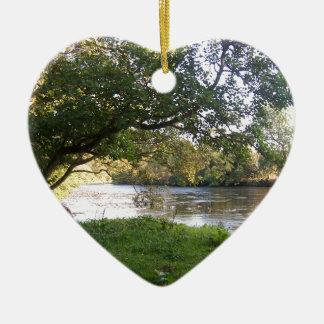 Doune Schloss-Fluss Keramik Herz-Ornament