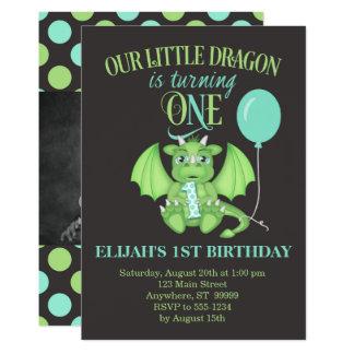 Drache-1. Geburtstags-Einladung mit optionalem 12,7 X 17,8 Cm Einladungskarte