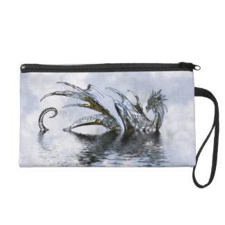 Drache bewölkt blauer Himmel-Schmutz-Geldbeutel Wristlet Handtasche