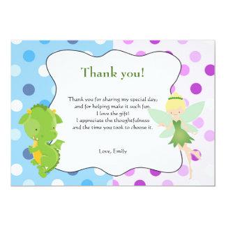 Drache-feenhafter blauer lila Geburtstag danken 12,7 X 17,8 Cm Einladungskarte