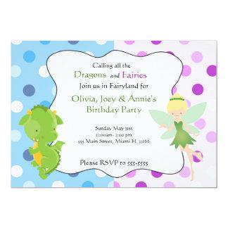 Drache-feenhafter blauer lila Geburtstag laden ein 12,7 X 17,8 Cm Einladungskarte