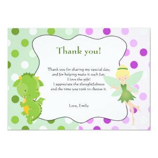 Drache-feenhafter lila grüner Geburtstag danken Karte