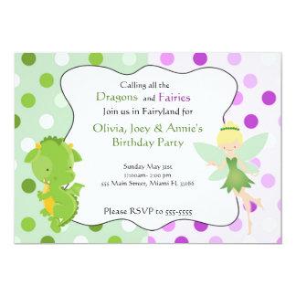 Drache-feenhafter lila grüner Geburtstag laden ein 12,7 X 17,8 Cm Einladungskarte