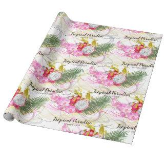 Drache-Frucht-und rosa Orchideen-tropische Geschenkpapier