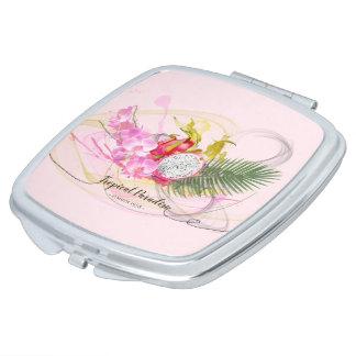 Drache-Frucht-und rosa Orchideen-tropische Taschenspiegel