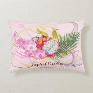 Drache-Frucht-und rosa Orchideen-tropische Zierkissen