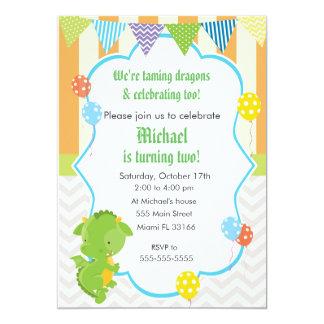 Drache-Jungen-Geburtstags-Party Einladungs-Ballon Karte