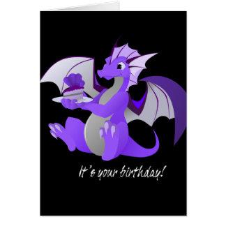 Drache mit Kuchen-Geburtstags-Karte Grußkarte