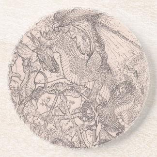 Drache mit Pentagram-Einhorn Sandstein Untersetzer